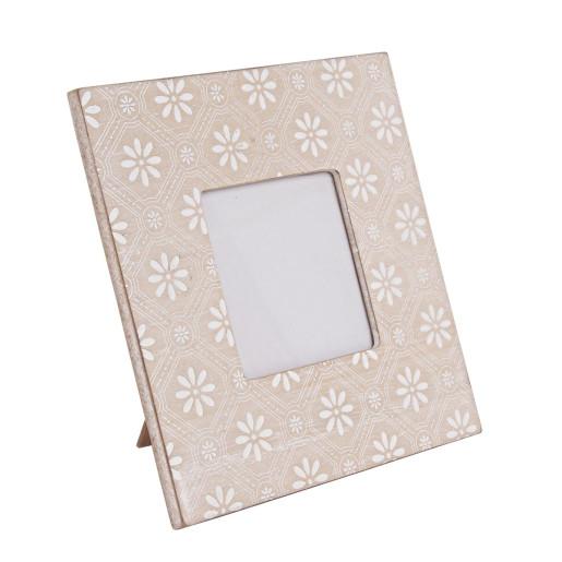 Rama foto de masa lemn crem alb  20 cm x 20 h