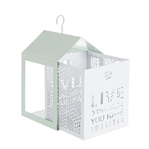 Set 2 felinare suspendabile din metal alb Armonia 11 cm x 11 cm x 20 h; 15 cm x 15 cm x 26 h
