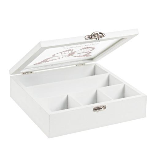 Cutie din lemn pentru ceai alba lemn sticla 5 compartimente 22 cm x 23 cm x 7h