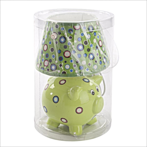 Veioza decorativa pentru copii Piggy verde25H