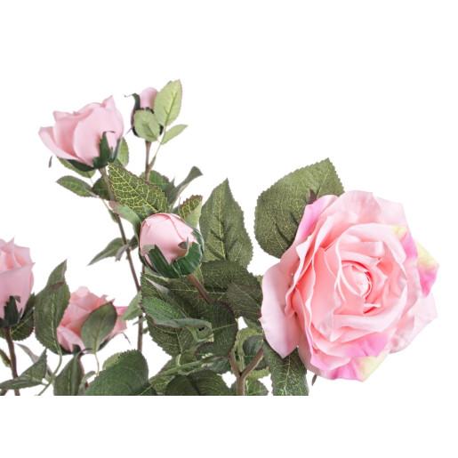 Trandafir artificial roz cu 8 flori in ghiveci 51 cm x 39 cm x 66 h