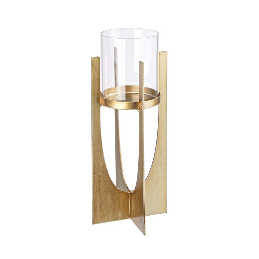 Sfesnic metal sticla auriu Ø8 cm x 30h