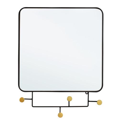 Oglinda de perete cu rama metal negru si 4 agatatori Korbit 65.5 cm x 5 cm x 51 h