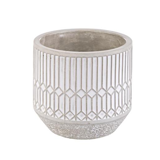 Ghiveci flori ceramic alb bej ø13.5x12.9h