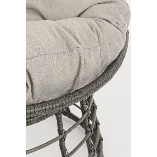 Fotoliu cadru din fier si perna textil gri Molly Ø 69 cm x 92 cm