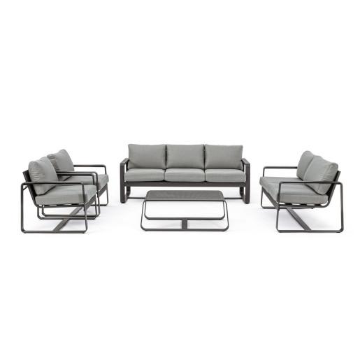 Canapea 3 locuri cu cadru din fier negru si perne textil gr Merrigan 194 cm x 78 cm x 73 h