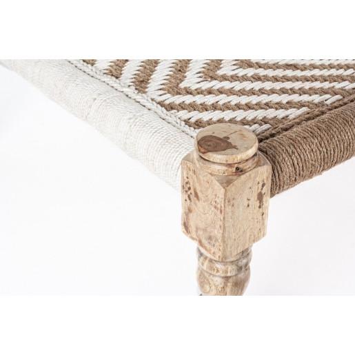 Bancuta cu picioare din lemn natur si sezut din bumbac alb maro Tamil 176 cm x 86 cm x 46 h