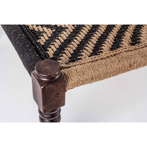 Bancuta cu picioare din lemn negru si sezut din bumbac maro negru Tamil 176 cm x 86 cm x 46 h