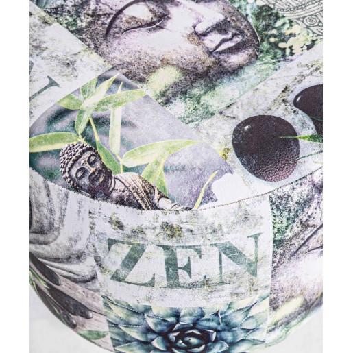 Taburet tapiterie piele ecologica cu picioare lemn natur Meditation Ø 30 cm x 32 h