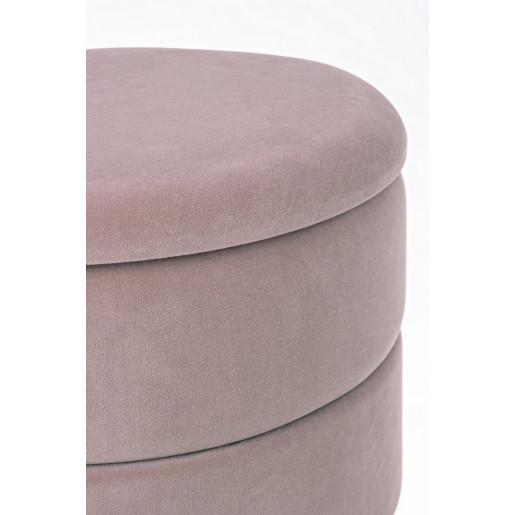 Taburet cu spatiu depozitare tapiterie velur roz prafuit cu cadru fier auriu Pavlina Ø 37.5 cm x 42 h
