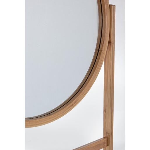 Scara decorativa lemn natur cu oglinda 170h x 43 cm