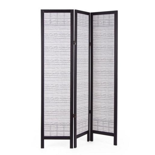 Paravan decorativ lemn negru decorat cu bumbac Triangle 120 cm x 6 cm x 170 h