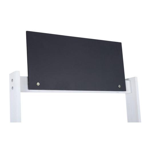 Expozor din fier cu 3 cosuri albe si tablita de scris 64 cm x 42 cm x 170 h