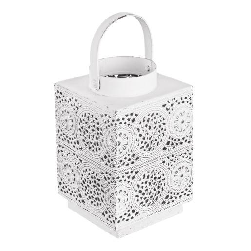 Felinar metal alb Marrakesh 12 cm x 11 cm x 17 h