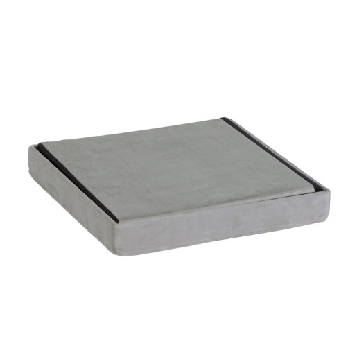 Taburet pliabil cu spatiu depozitare catifea gri 38 cm x 38 cm x 38h