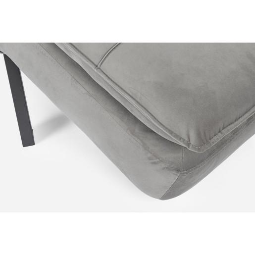 Pat de zi picioare fier negru tapitat cu catifea gri  Bea 181 cm x 78 cm x 93 h x 42 h1