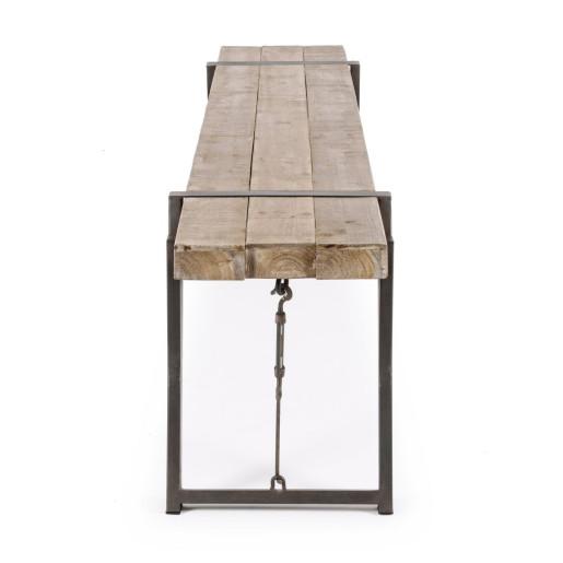Banca cu picioare din fier maro si sezut lemn natur Blocks 200 cm x 34 cm x 46 h