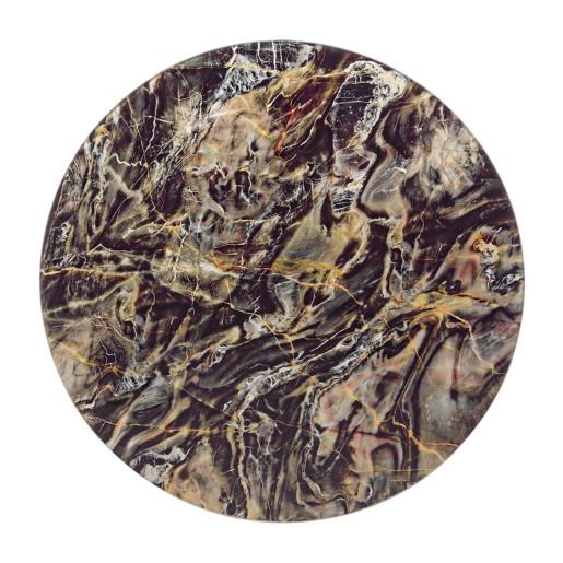 Masuta cafea fier cu blat sticla Marmory Ø 50 cm x 50h