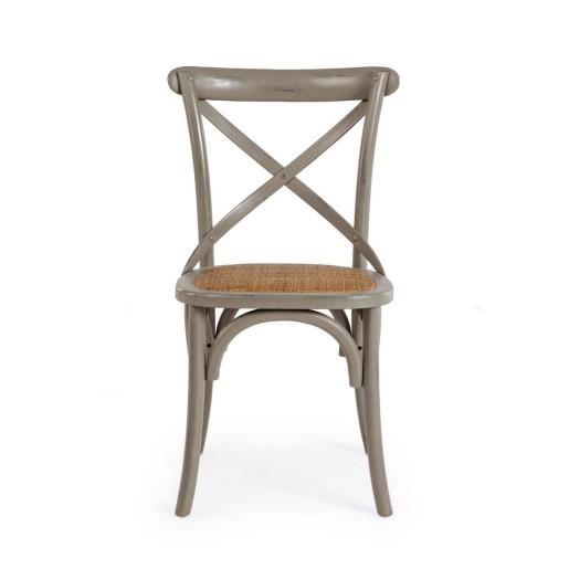 Scaun din lemn gri antichizat cu sezut din rattan maro Cross 50.5 cm x 52 cm x 87 h x 46 h1