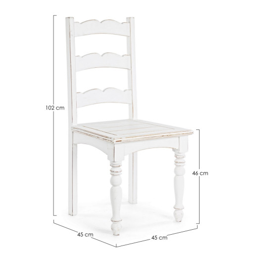Scaun din lemn alb antichizat Colette 45 cm x 45 cm x 102 h x 46 h1