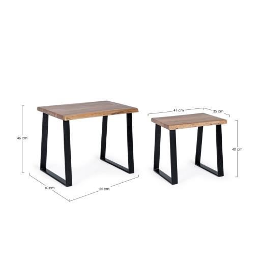 Set 2 masute cu picioare din fier negru si blat lemn natur Artur 55 cm x 40 cm x 46 h; 41 cm x 35 cm x 40 h