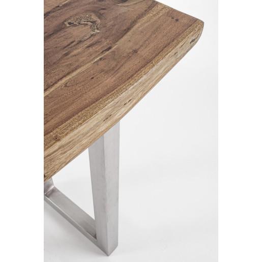 Consola cu picioare din inox blat lemn maro Osbert 130 cm x 45 cm x 78 h