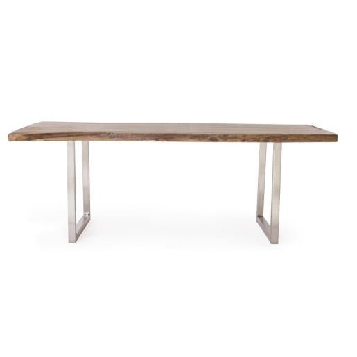 Masa cu picioare din inox si blat lemn maro Osbert 220 cm x 100 cm x 78 h