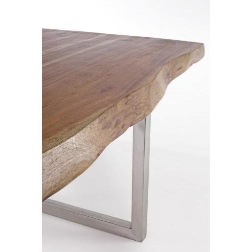 Masa cu picioare din inox si blat lemn maro Osbert 180 cm x 90 cm x 77 h