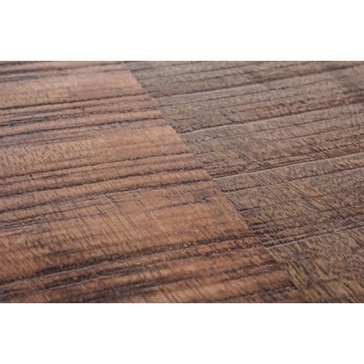 Taburet din fier negru sezut cu inaltime reglabila lemn mango maro Revolve Ø 35 cm x 48/70 h