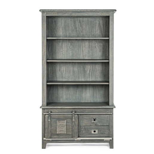 Biblioteca cu 4 polite 2 sertare 1 usa din lemn gri Jupiter 100 cm x 37 cm x 185 h