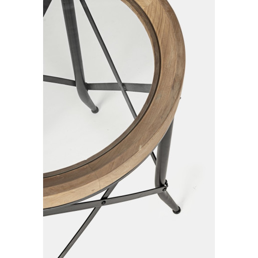 Set 2 masute de cafea din fier negru cu blat lemn natur si sticla Evans Ø 50 cm x 65 h