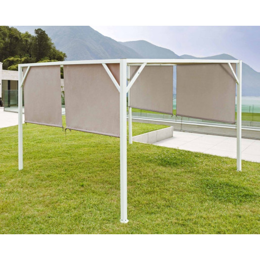 Umbrar de gradina cu cadru din otel alb copertina bej Gazebo 300 cm x 300 cm x 205 h