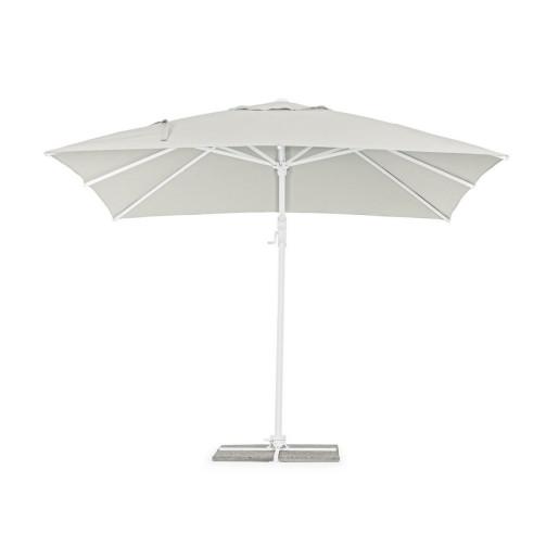 Umbrela de gradina cu picior din fier alb si copertina textil crem Eden 300 cm x 300 cm x 255 h