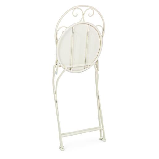 Set 2 scaune pliabile si masa fier forjat crem bleumarin Bistrot