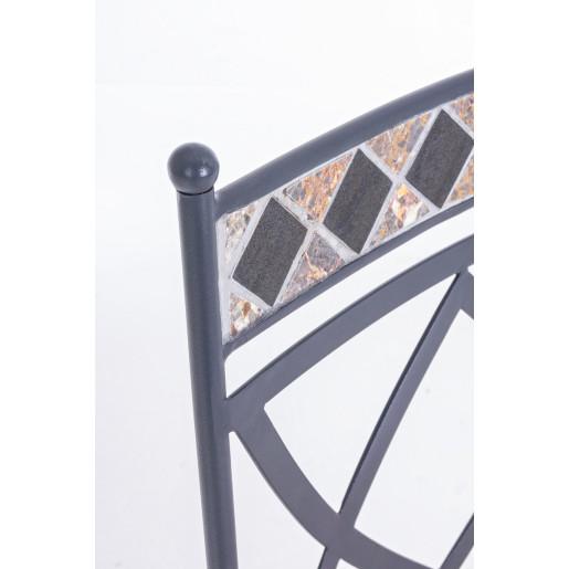 Scaun din fier gri decorat cu mozaic 54 cm x 53 cm x 94 h x 48 h1 x 50 h2