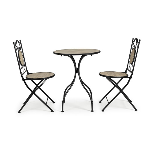 Set 2 scaune pliabile si 1 masa din fier negru si ceramica maro Kansas 38 cm x 38 cm x 92 h x 46 h1