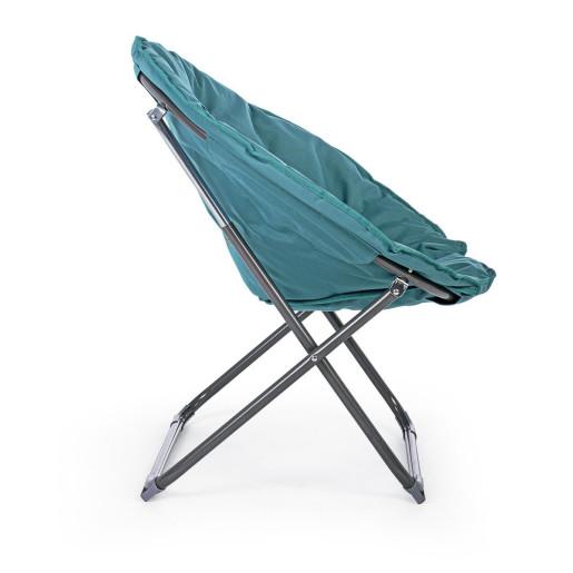 Fotoliu pliabil cadru din otel gri si perna textil albastru Luna 65 cm x 75 cm x 80 h x 42 h1