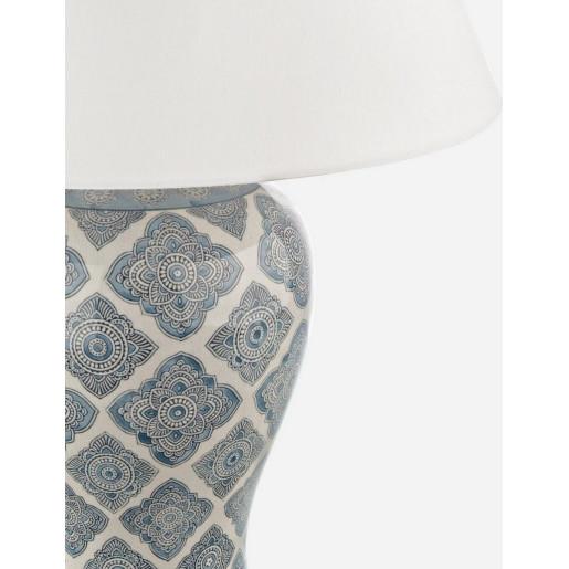 Veioza portelan cu abajur texil gri alb Arabesque Ø 24 cm x 70 h