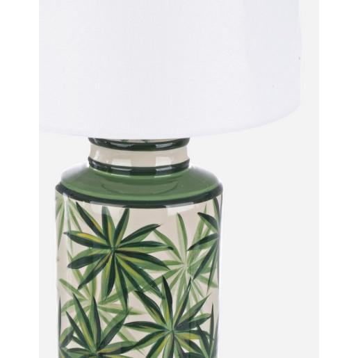 Veioza portelan cu abajur texil alb verde Tropic Ø 18 cm x 44 h