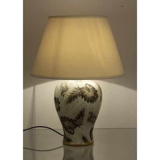 Veioza portelan cu abajur texil alb crem bej Leaf Ø 24 cm x 49 h