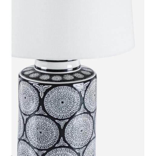 Veioza portelan cu abajur texil alb gri negru Antifone 18 cm x 18 cm x 49 h