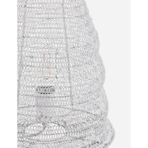 Veioza metal alb antichizat Amish 30 cm x 30 cm x 38.5 h