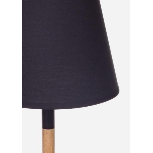 Veioza lemn natur abajur negru Igea  23 cm x 23 cm x 52 h
