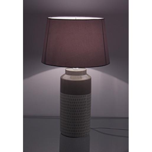 Veioza ceramica alb cremcu abajur textil Drops Ø 27 cm x 45.5 h