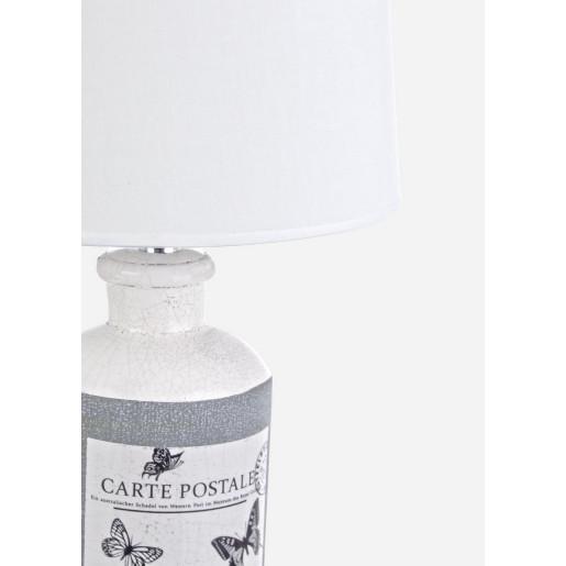 Veioza ceramica gri cu abajur alb Carte Postale Ø 28 cm x 44 h