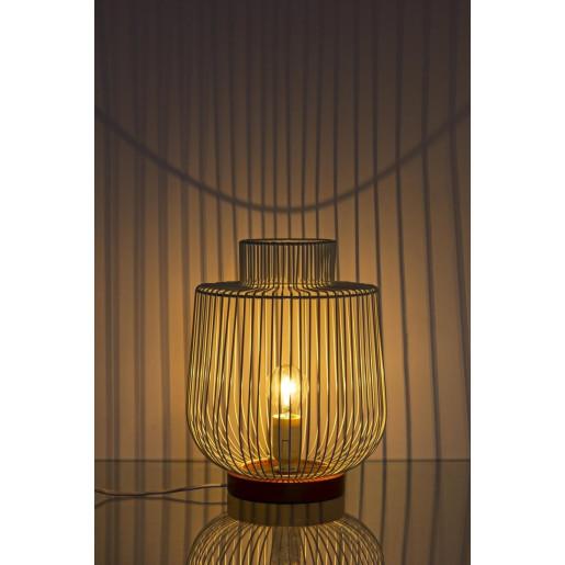 Veioza lemn natur cu abajur metal alb Luxor Ø 26 cm x 32 h