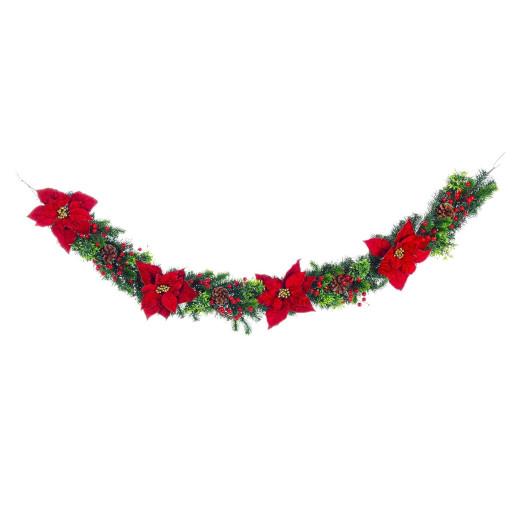 Ghirlanda brad artificial cu conuri naturale craciunite rosii si merisoare 180 cm