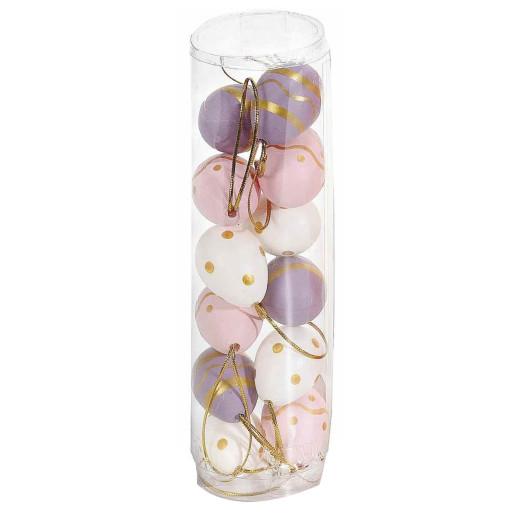 Set 12 oua decorative plastic suspendabile mov roz alb