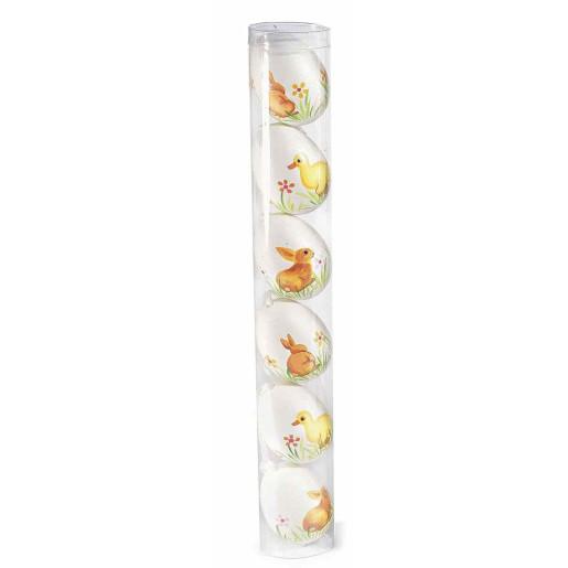 Set 6 oua decorative plastic suspendabile alb ratusca iepuras Ø 4 cm x 6 h