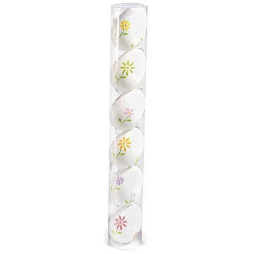 Set 6 oua decorative plastic suspendabile alb flori